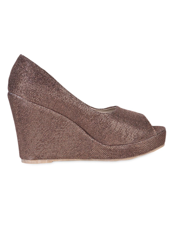 Textured Copper Peep Toe Wedges - Flat N Heels