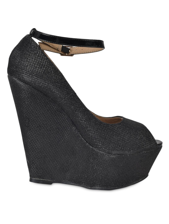 Textured Black Peep Toe Wedges With Strap - Flat N Heels
