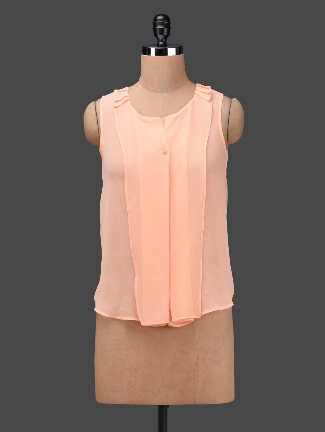 Peach Sleeveless Georgette Top - Ama Bella