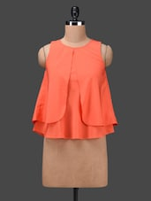 Orange Layered Sleeveless Poly-crepe Top - Ama Bella