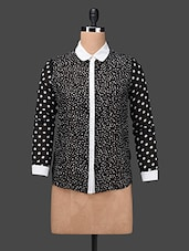 Monochrome Polka Dots Georgette Top - Ama Bella
