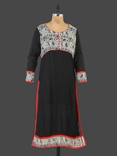Black Round Neck Printed Kurta - Desirang