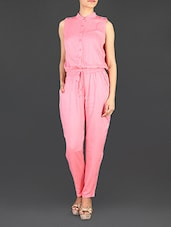 Solid Pink Rayon Jumpsuit - LifenYou