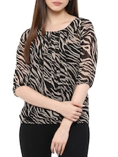 black georgette printed top -  online shopping for Tops