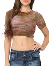 Back Cutout Brown Knitted Crop Top - Tong