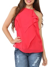 Front Frilled Sleeveless Pink Georgette Top - Tong