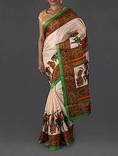 Digitally Traditional Print Bhagalpuri Silk Saree - By