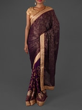 Purple Brasso Embroidered Saree - By