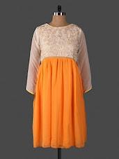 Orange And Cream Embroidered Georgette Kurti - Yaari Fashion