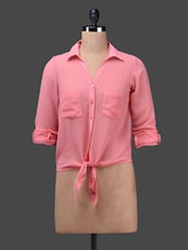 Solid Knotted Poly Georgette Shirt - WISSTLER