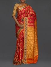 Golden Floral Pallu Magenta Kanjivaram Saree - SareesHut
