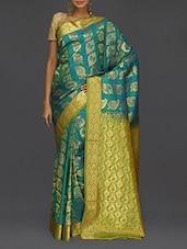 Golden Paisley Pallu Blue Kanjivaram Saree - SareesHut