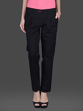Solid Black Front Pleat Formal Trouser - Fast N Fashion