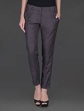 Solid Grey Front Pleat Formal Trouser - Fast N Fashion