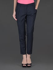 Navy Blue Double Front Pleat Formal Trouser - Fast N Fashion