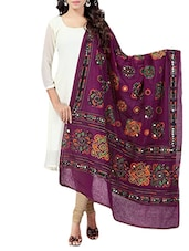 Purple Cotton Embroidery & Mirror Work Dupatta - By