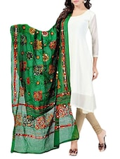 Green Cotton Embroidery & Mirror Work Dupatta - By