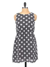 Monochrome Polka Dots Printed Georgette Dress - RIGOGLIOSO