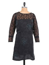 Black Lace Yoke Printed Georgette Shift Dress - RIGOGLIOSO