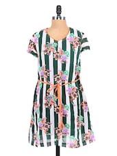 Striped- Floral Print Georgette Shift Dress - RIGOGLIOSO