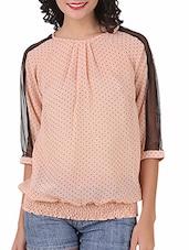 Quarter Sleeves Dot Printed Top - Silk Weavers