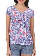 Ruffled Neck Floral Print Top - Silk Weavers