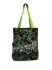 Green Scroll Printed Dark Brown Tote Bag - Kanvas Katha