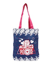 Cute Cat With Floral Printed Canvas Tote Bag - Kanvas Katha