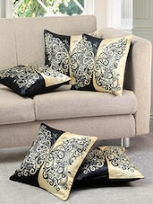 Black And Beige Polysilk Printed Cushion Cover (set Of 5) - By