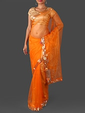 Orange Net Saree With Sequined Border - Janasya