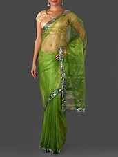 Green Net Saree With Sequined Border - Janasya