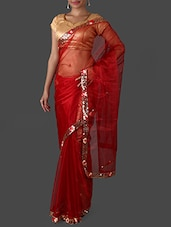 Maroon Net Saree With Sequined Border - Janasya