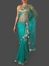 Sea Green Net Saree With Sequined Border - Janasya