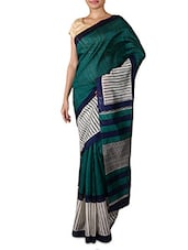 Teal Printed Bhagalpuri Silk Saree - By