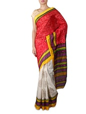 White And Red Printed Silk Saree - By