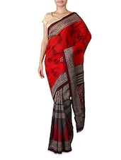 Red And Grey Printed Silk Saree - By