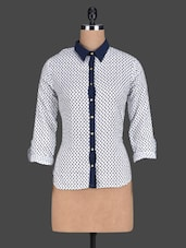 Printed Crepe Shirt With Blue Collar & Placket - Paprika