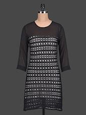 Black Quarter Sleeves Lace Dress - Paprika