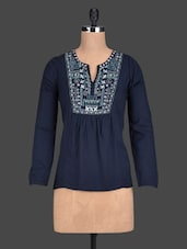 Blue Long Sleeves Embroidered Top - Paprika