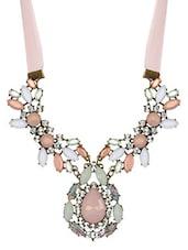 Multicolour Satin Ribbon Acrylic Metallic Choker Necklace - By