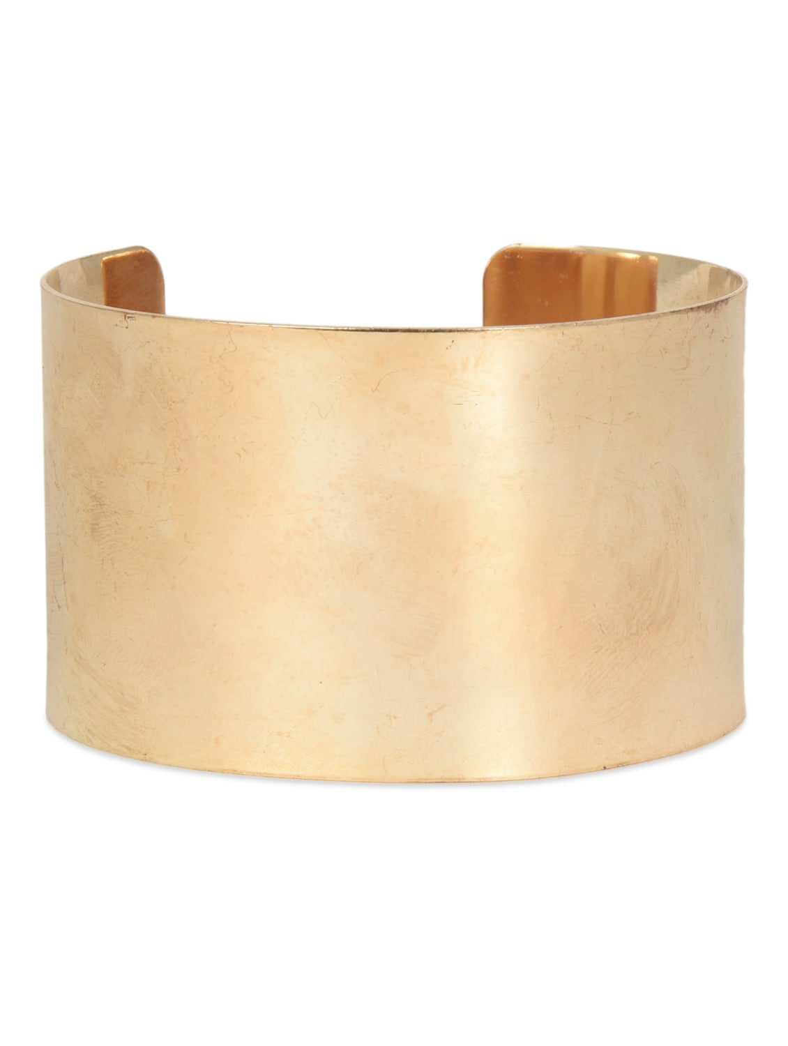 Gold Metallic Cuff Bracelet With Adjustable Loop Closure - By