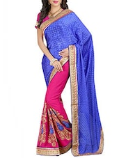 blue and pink georgette embroidered half and half saree -  online shopping for Sarees
