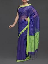 Royal Blue Cotton Silk Saree - Boutique Rupkatha