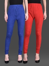 Red And Royal Blue Leggings (Set Of 2) - By
