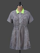 Short Sleeves Shirt Collar Striped Georgette Kurta - Yepme