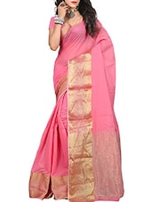 pink cotton bordered saree -  online shopping for Sarees
