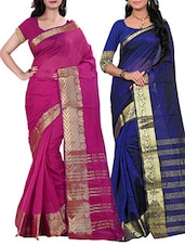multi colored silk blend woven saree (set of 2) -  online shopping for Sarees
