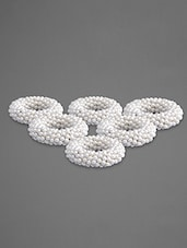 White Pearl Napkin Ring (Set Of 6) - By