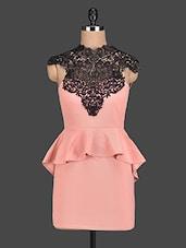 Lace Top Peach Peplum Dress - PINK LACE