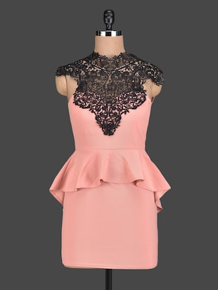 Lace Top Peach Peplum Dress -  online shopping for Dresses